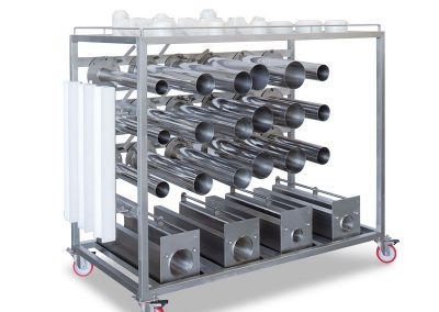 Trolley for moulds, tubes and accessories
